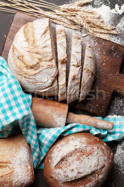 Pan cocina superior vista alimentos Foto stock © karandaev