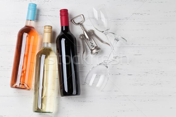 красную розу белое вино бутылок деревянный стол Top мнение Сток-фото © karandaev