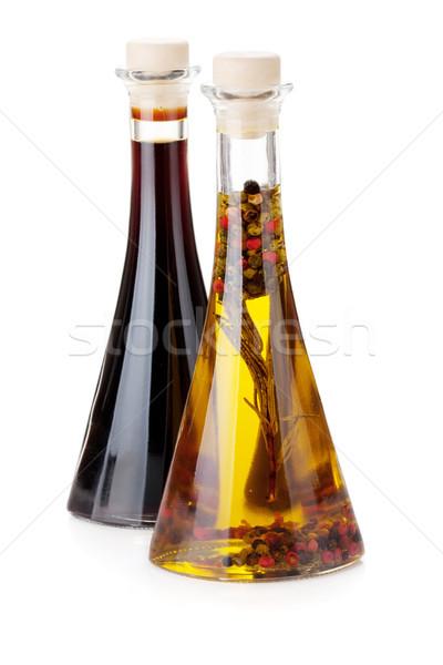 Aceite de oliva vinagre botellas aislado blanco hoja Foto stock © karandaev