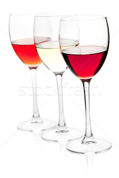 Rose, white and red wine Stock photo © karandaev