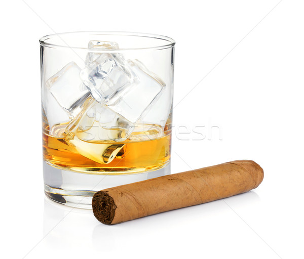 Whiskey glass and cigar Stock photo © karandaev
