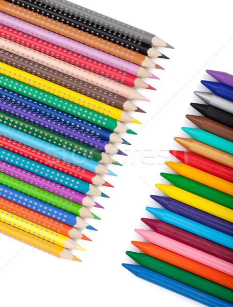 Сток-фото: различный · цвета · карандашей · изолированный · белый · древесины