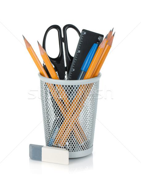 Crayons stylos souverain ciseaux caoutchouc isolé Photo stock © karandaev