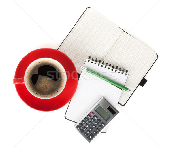 Stock photo: Red coffee cup and office supplies