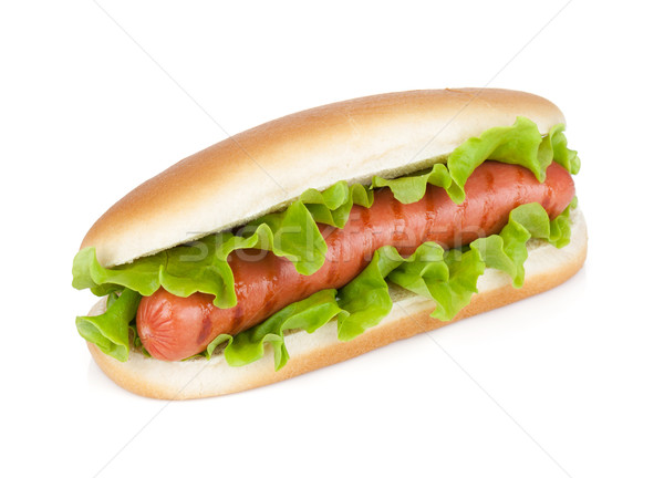 Hot dog fraîches laitue isolé blanche alimentaire Photo stock © karandaev