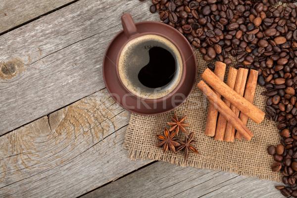 Сток-фото: чашку · кофе · специи · деревянный · стол · текстуры · продовольствие