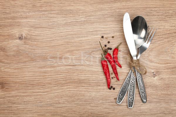 столовое серебро набор вилка ложку ножом деревянный стол Сток-фото © karandaev