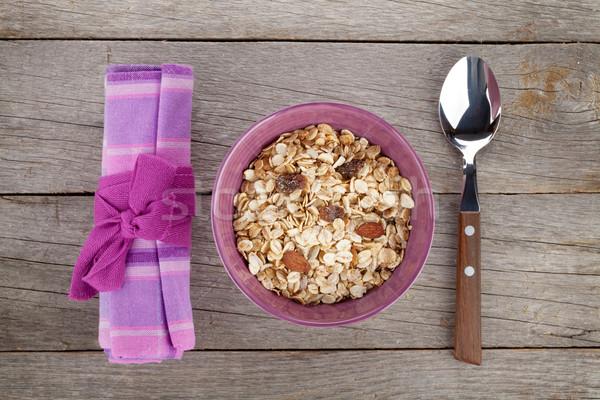 Egészséges reggeli müzli felülnézet fa asztal asztal Stock fotó © karandaev
