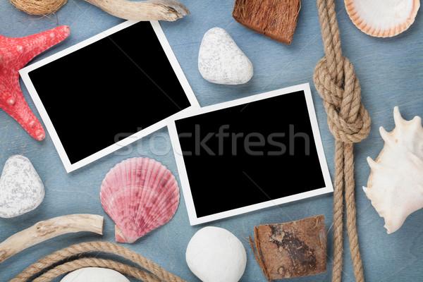 Stockfoto: Foto · frames · schelpen · schip · touw · zee