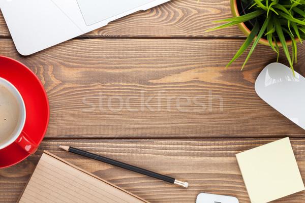 Stockfoto: Tabel · computer · koffiekopje · bloem