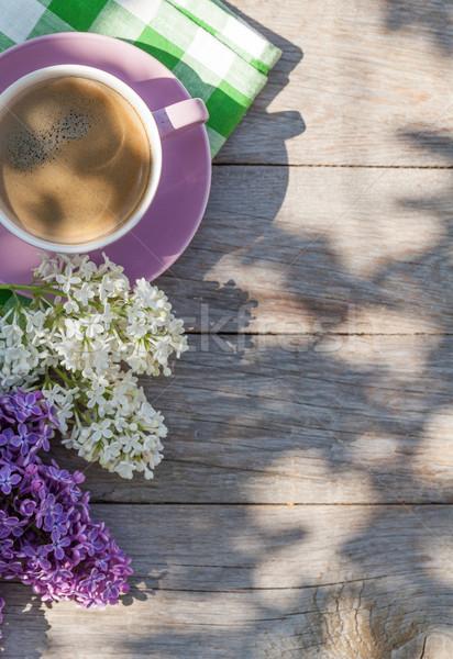 Foto stock: Xícara · de · café · colorido · flores · jardim · tabela