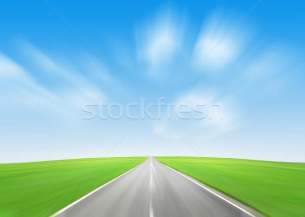 Asfalt yol yeşil alan mavi gökyüzü yaz Stok fotoğraf © karandaev