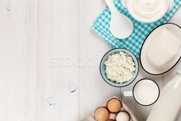 Sour cream, milk, cheese, eggs and yogurt Stock photo © karandaev