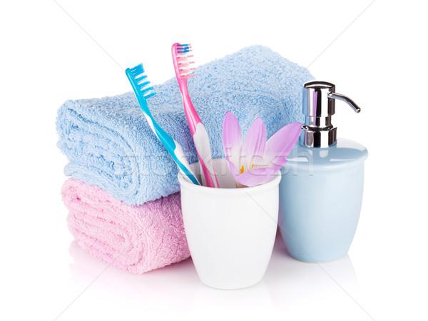Jabón dos toallas flor aislado blanco Foto stock © karandaev