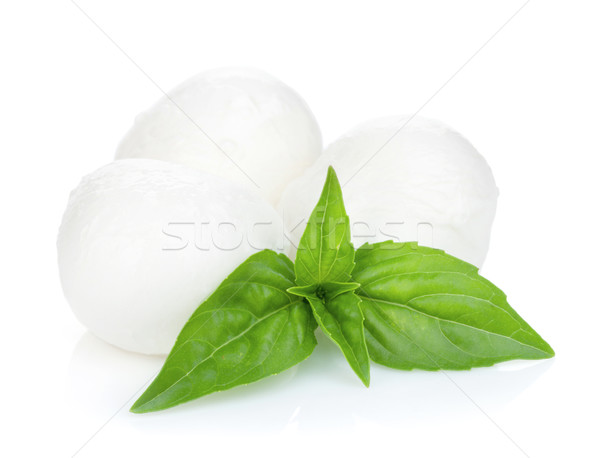 Mozzarella cheese with basil Stock photo © karandaev