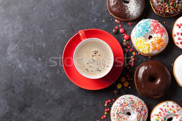 Renkli kahve fincanı kahve taş tablo Stok fotoğraf © karandaev