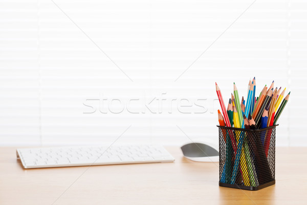 Office workplace with pc and supplies Stock photo © karandaev