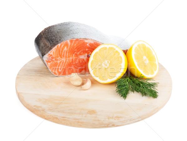 鮭 まな板 レモン ハーブ 孤立した 白 ストックフォト © karandaev