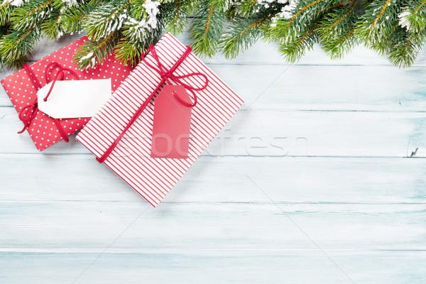 Noël coffrets cadeaux bois haut vue Photo stock © karandaev
