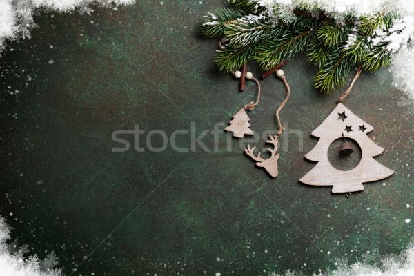 Navidad nieve decoración piedra Foto stock © karandaev
