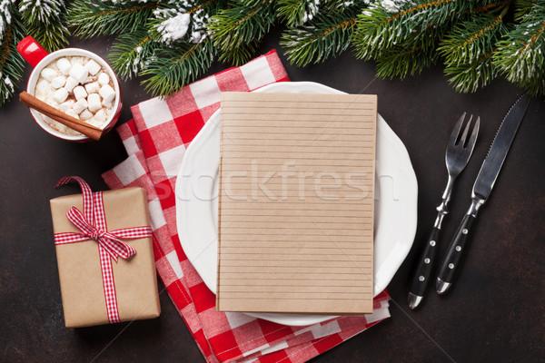 Stock fotó: Karácsony · vacsora · tányér · ezüst · étkészlet · fenyőfa · forró · csokoládé