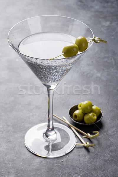 Martini coquetel escuro pedra tabela vidro Foto stock © karandaev