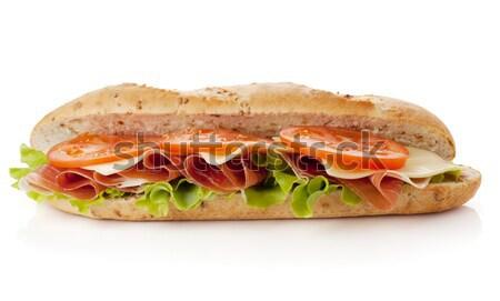 Foto d'archivio: Sandwich · preparazione · lungo · isolato · bianco · un · altro