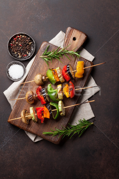 ストックフォト: 焼き · 野菜 · まな板 · 暗い · 石 · 表