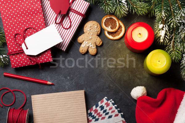 Notatnika christmas list szkatułce śniegu Zdjęcia stock © karandaev