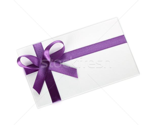 Ajándék levél szalag íj izolált fehér Stock fotó © karandaev