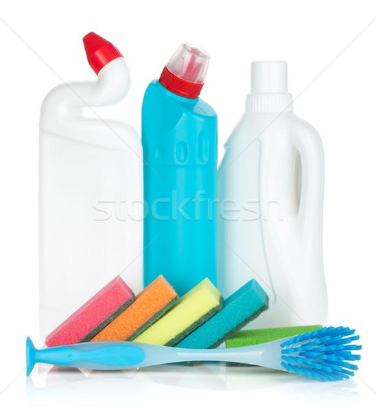 Stock fotó: Műanyag · üvegek · takarítószerek · ecset · izolált · fehér
