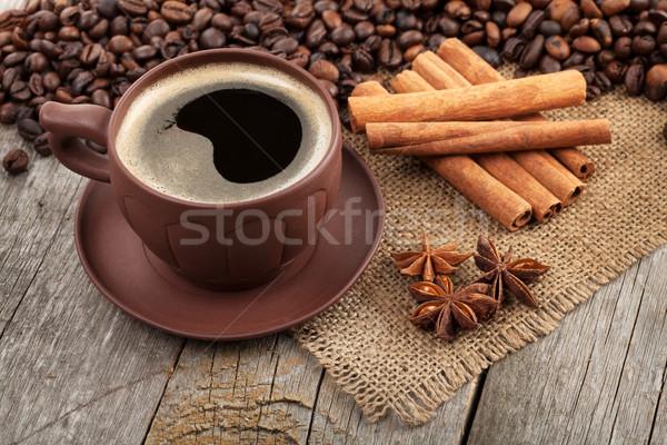 Сток-фото: чашку · кофе · специи · деревянный · стол · текстуры · продовольствие · кофе