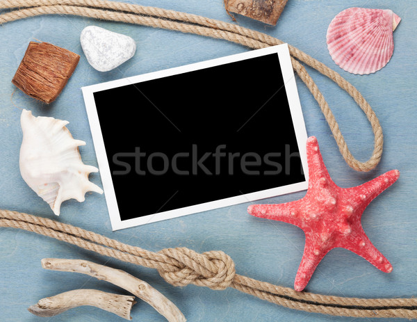 Travel photo frame on blue wooden texture Stock photo © karandaev