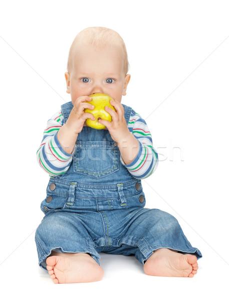 Foto stock: Pequeño · bebé · nino · comer · manzana · aislado