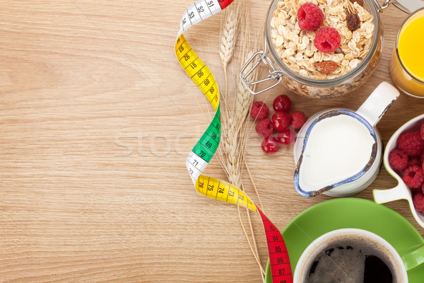 Stockfoto: Ontbijt · müsli · bessen · sinaasappelsap · koffie · croissant