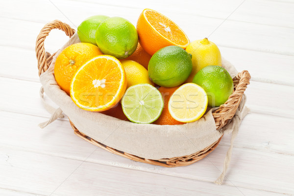 Stock photo: Citrus fruits. Oranges, limes and lemons