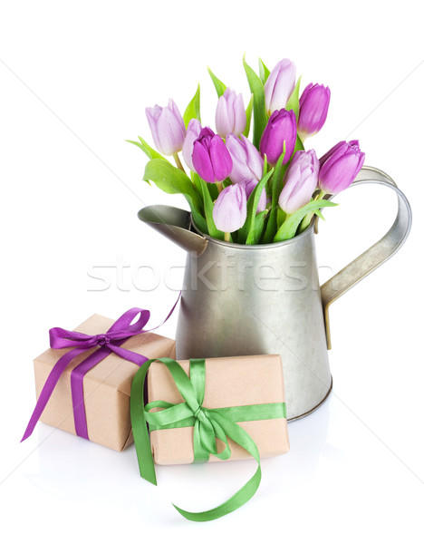 Purple Tulip букет лейка подарки Сток-фото © karandaev