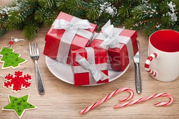 Zdjęcia stock: Tablicy · christmas · drewniany · stół