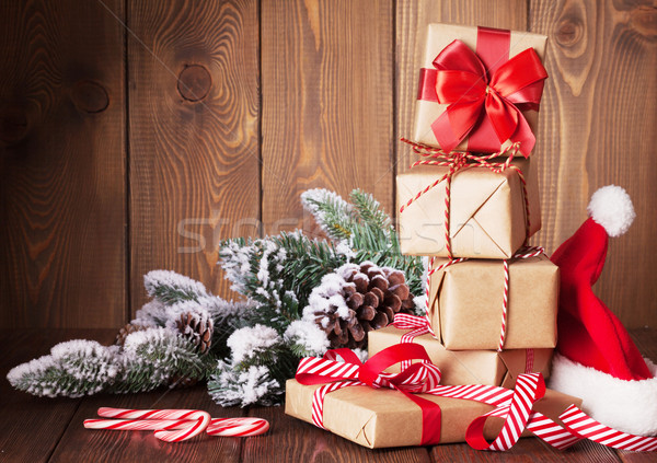 Stock foto: Weihnachten · hat · Holztisch · Natur