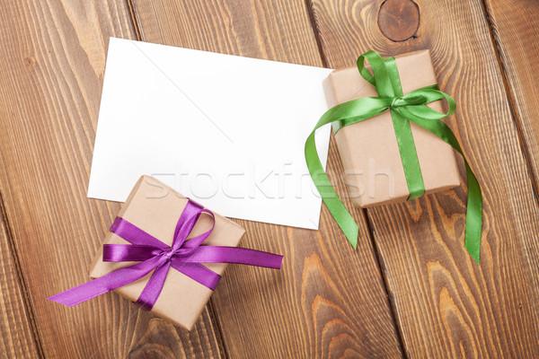 Fényképkeret kártya ajándékdobozok szalag fa asztal esküvő Stock fotó © karandaev