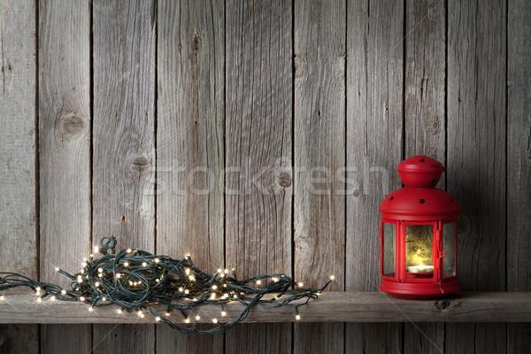 Сток-фото: Рождества · свечу · фонарь · фары · стены