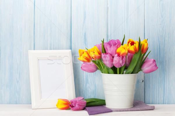 Fresche colorato tulipani bouquet photo frame tulipano Foto d'archivio © karandaev