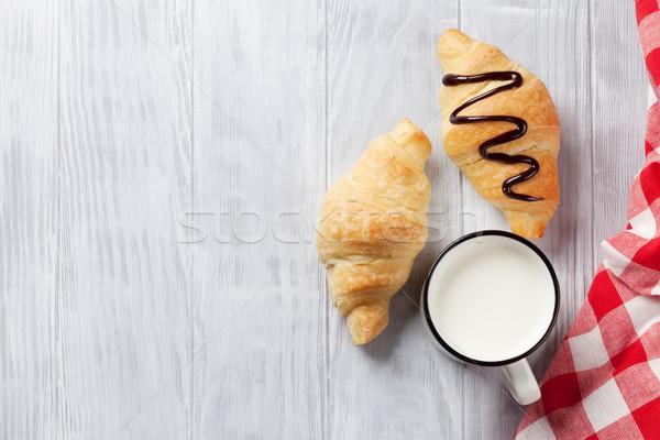Vers croissants melk houten tafel top Stockfoto © karandaev