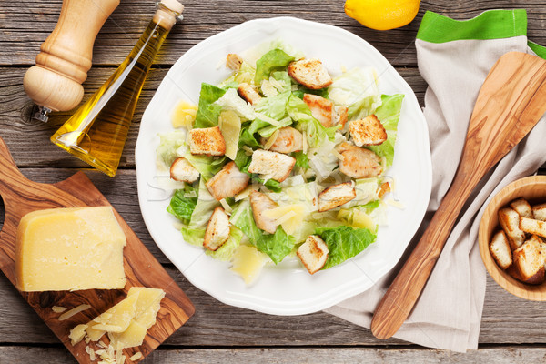 Fresh healthy caesar salad cooking Stock photo © karandaev