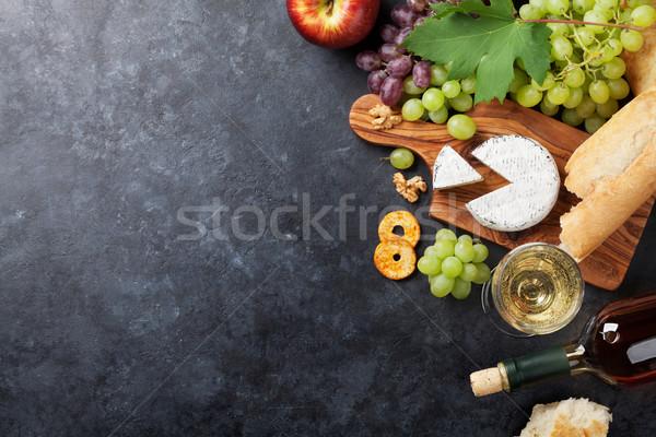 şarap üzüm peynir beyaz şarap ekmek taş Stok fotoğraf © karandaev