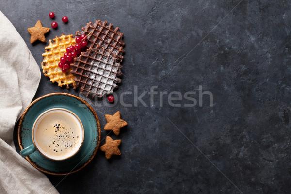 Café baies haut vue espace de copie alimentaire Photo stock © karandaev
