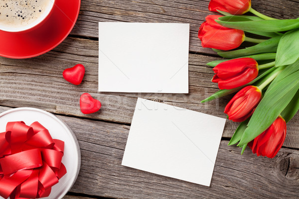 Red tulips, gift box and Valentine's day photos Stock photo © karandaev