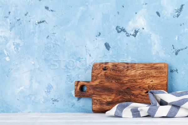Cocina tabla de cortar muro de piedra espacio pared Foto stock © karandaev