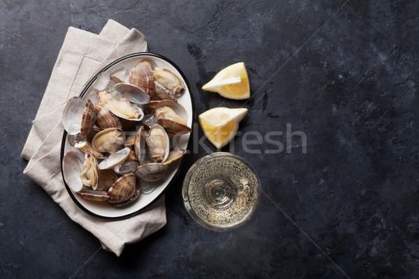 新鮮な シーフード ボウル 石 表 白ワイン ストックフォト © karandaev