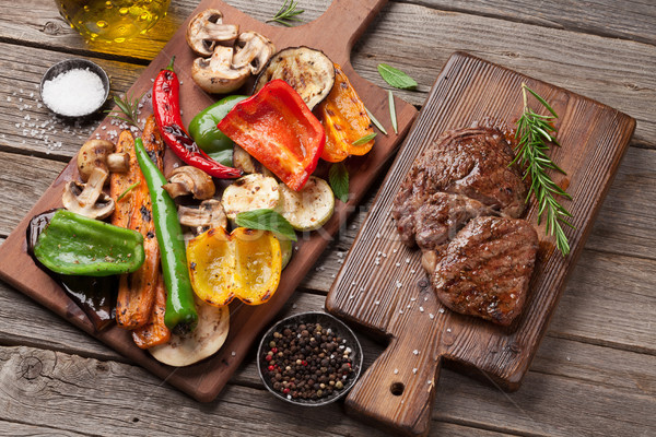 Grilled vegetables and beef steak Stock photo © karandaev